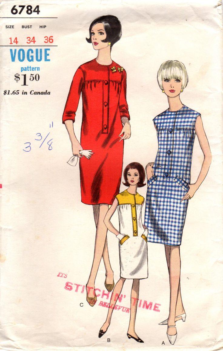 1960s Vogue 6784 Vintage Sewing Pattern Misses от midvalecottage