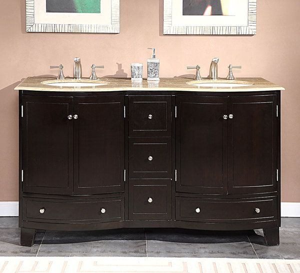 silkroad exclusive 60 inch travertine stone top bathroom vanity double sink cabinet travertine
