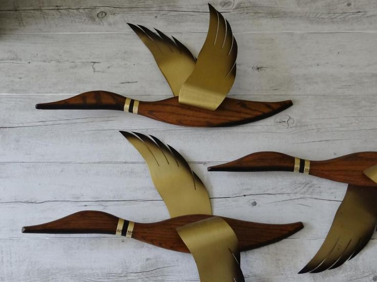Vintage Mid Century Teak Brass Wooden Stylised Flying