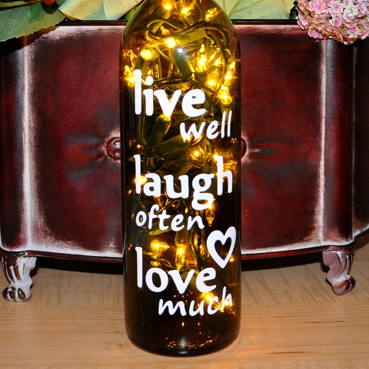 Live Well Laugh Often Love Much Wine Bottle Lights