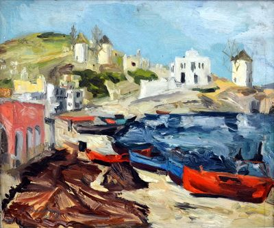(POST IMPRESSIONISM) Landscape from Paros Island, by Ion Tuculescu, 1939. Style: Post-Impressionism, Genre: landscape
