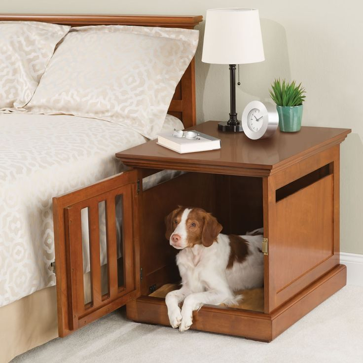 The Nightstand Dog House - This is the nightstand with integrated sleeping quarters for a dog. Eliminating the need for a standalone pet bed, the dog house nightstand blends into bedroom decor and has a door that provides dogs access to their own sleeping space. - Hammacher Schlemmer