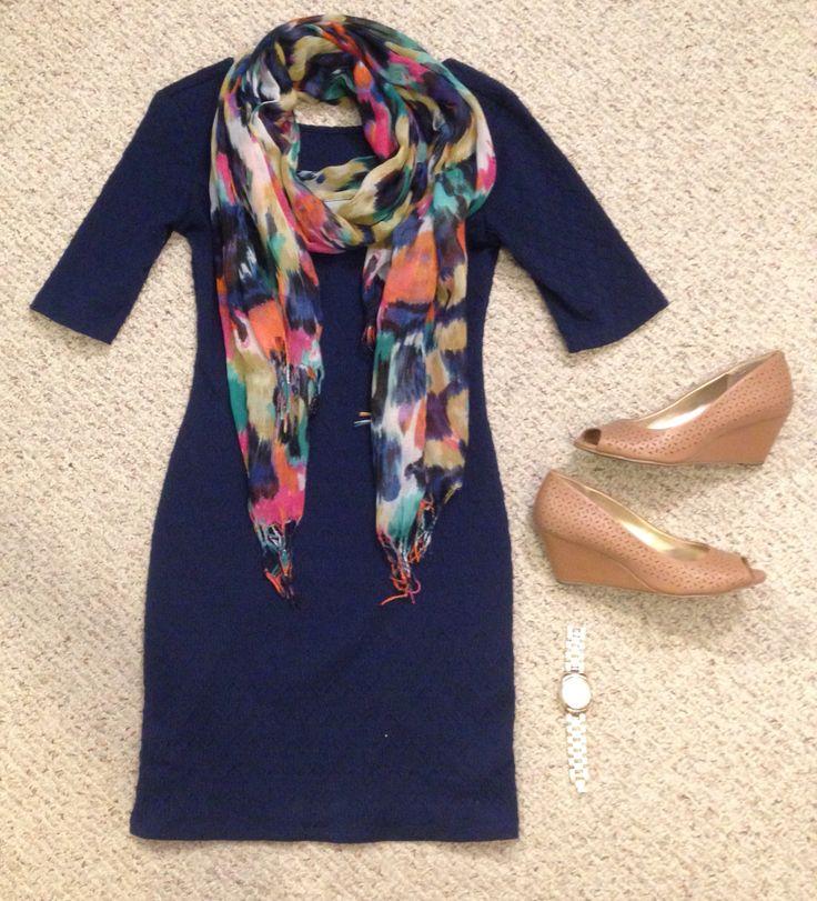 Teacher/work outfit. Dress: Target, Shoes: Payless, Scarf: Walmart