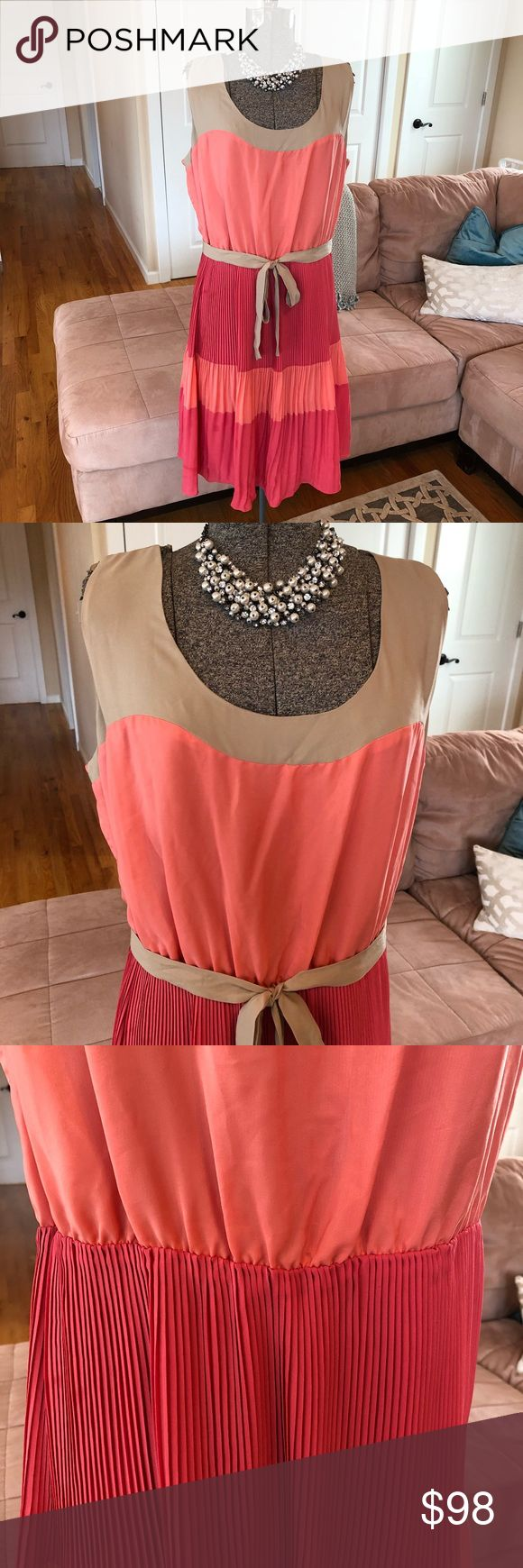 NWT THE LIMITED PINK, CORAL & TAN DRESS Warning: the tag on the dress says XL and the price tags says L.  Please see the measurements in the pictures to give you the true sizing! Thank you The Limited Dresses