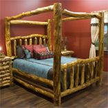 Log Canopy Beds, Rustic Canopy Bed, Four Poster Log Beds, Canopy Log Beds