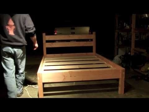Queen bed frame - YouTube