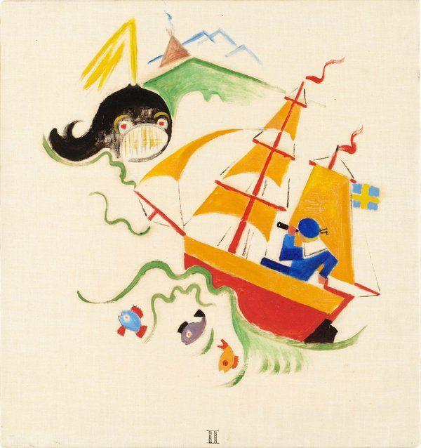Gösta Adrian-Nilsson   II - Lille Olles Resa, 1920   Oil on canvas 29 x 27 cm https://www.bukowskis.com/auctions/557/138-gosta-adrian-nilsson-lille-olles-resa?locale=en&page=7