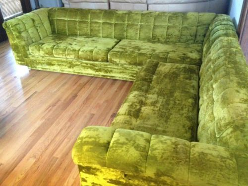 Mid Century Schnadig Platform Sectional Sofa Velvet Tufted