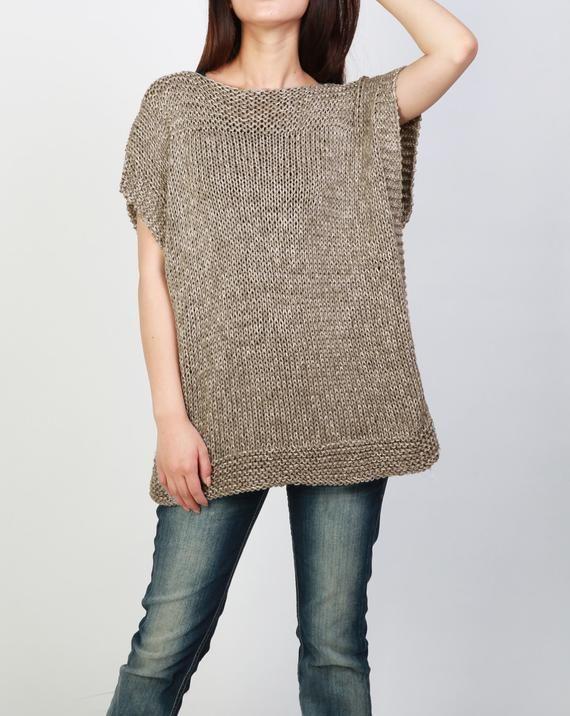 Hand knit Tunic sweater eco cotton woman sweater vest mocha | Etsy