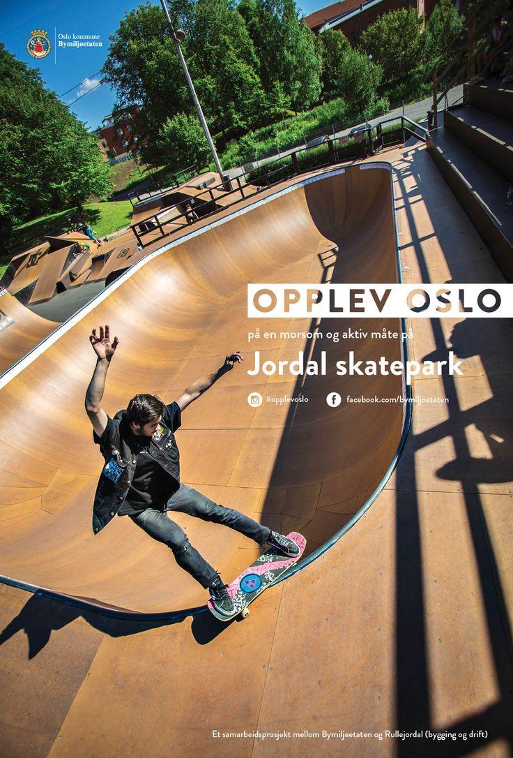 Plakater sommerkampanjen Opplev Oslo på en morsom og aktiv måte. Disse var på Leskur (Eurosize) og på store boards (City backlite). Rullejordal. Jordal skatepark