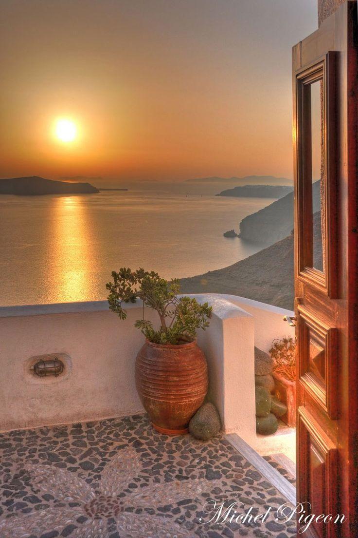 Sunset view from Fira, Santorini , Greece