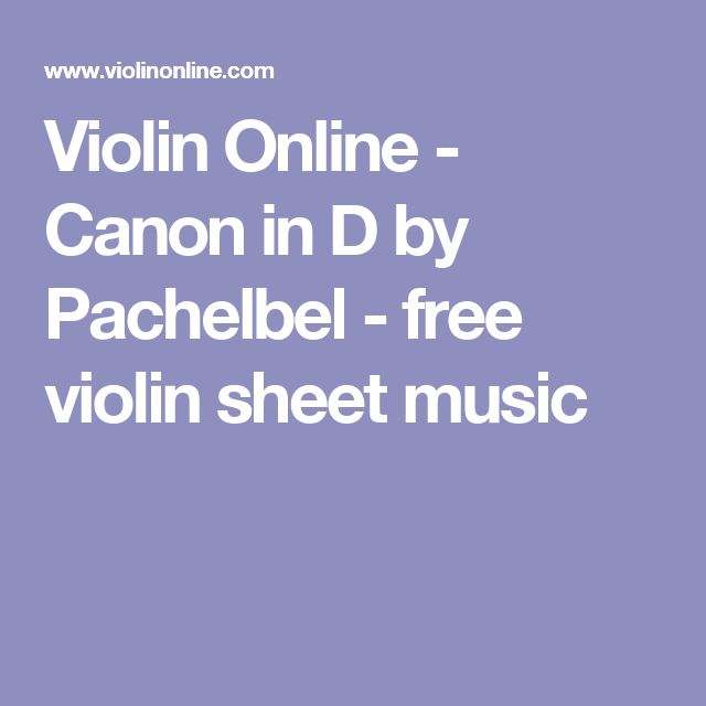 Violin Online - Canon in D by Pachelbel - free violin sheet music