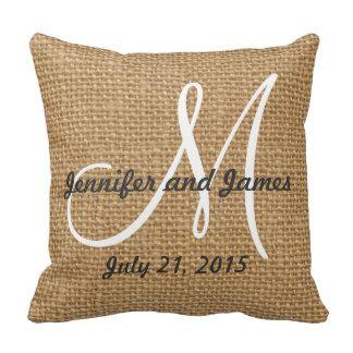 Monogram Names Rustic Wedding Keepsake Throw Pillow