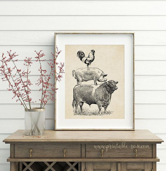 Cow Pig En Wall Art Printable Rooster French Country Decor