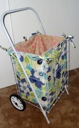 Stop carrying all those groceries to and from the store. Instead, learn how to make a grocery cart liner perfect for a handy rolling cart. You could also use this as a laundry cart liner. Either way, this free sewing pattern is cute and useful!