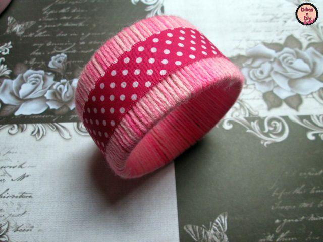 Faça você mesma - Diy - pulseira com rolo de fita adesiva - renda -  lã - fita poá Blog Dikas e diy