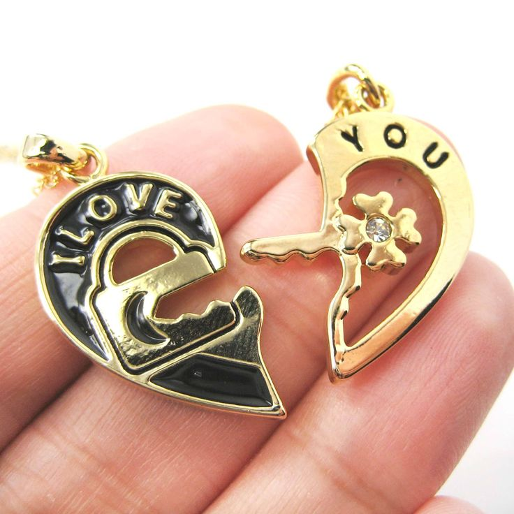 """2 Piece Heart Shaped Lock and Key """"I Love You"""" Couple Necklace in Gold"""