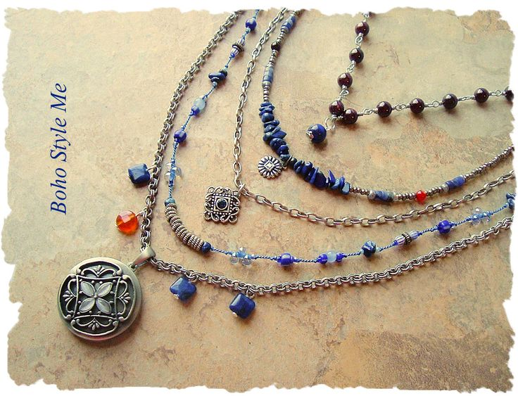 Bohemian Necklace, Blue Lapis Lazuli Layered Necklace, Boho Fashion Jewelry, Urban Gypsy, Boho Style Me, Kaye Kraus by BohoStyleMe on Etsy