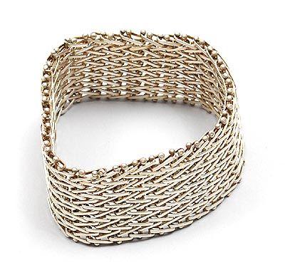 HANS APPENZELLER 1949 - Brede geweven zilveren armband ontwerp 1982 uitvoering in eigen atelier Amsterdam ca.1990 in originele verpakking