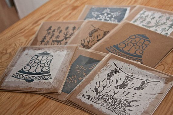 Set of 10 lino Cut Christmas Cards