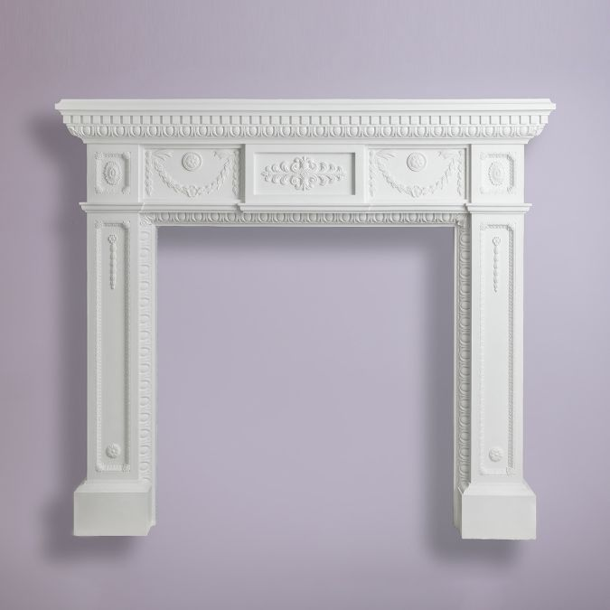 Erpingham - Georgian Plaster Fireplace Surround A majestic Georgian plaster fireplace surround featuring dentil, egg and dart, swags and drops and classical enrichments – suitable for larger spaces.