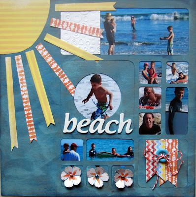 @Christine MeyerScrapbook Ideas, Scrapbook Cards, Scrapbook Com, Sun Beams, Cute Ideas, Beach Layout, Ribbons Sunburst, Scrapbook Layout, Beach Scrapbook