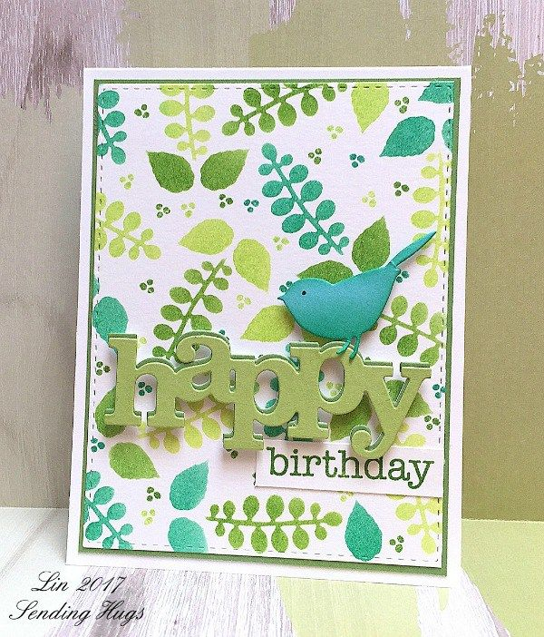 Happy Birthday Card by Lin Brandyberry featuring the Petite Greens Two-Step Stencil by Tammy Tutterow for StencilGirl.   | www.tammytutterow.com