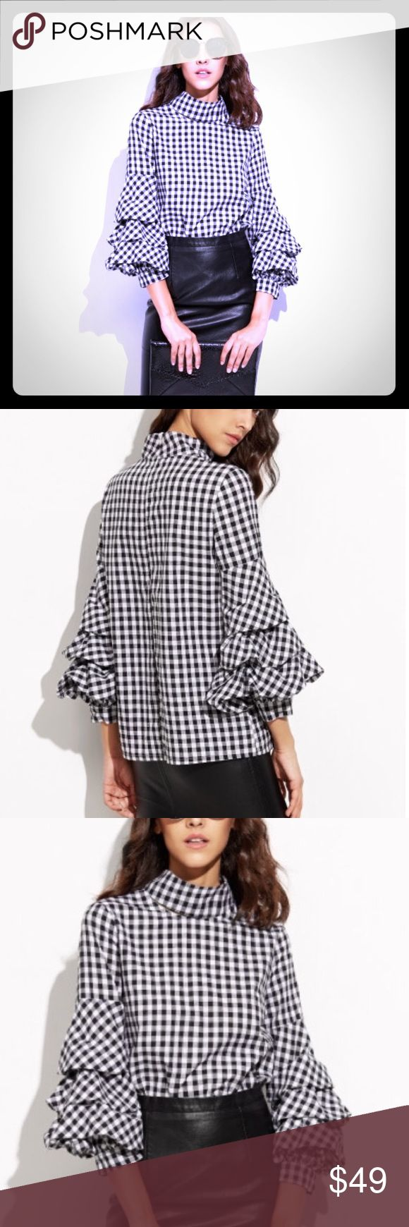 ⚜️Sophisticated & Sexy plaid Top Gorgeous Hot Fashion Black Gingham Cutout High Neck Billow Sleeve Top - BRAND NEW! Tops Blouses