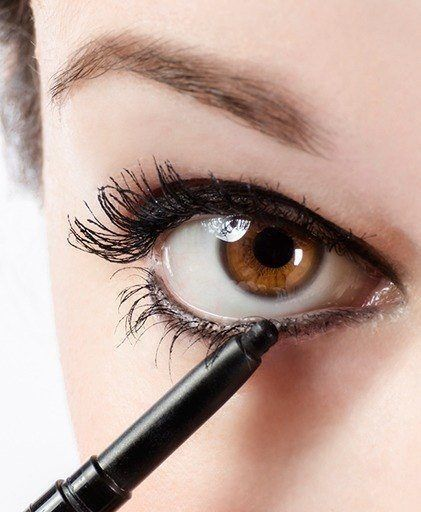 Tricks for Lining Your Waterline...Using a waterproof  pencil is best since it will last all day & keep your eye makeup perfectly intact. Then use a clean eyeliner brush to pat a matching eye shadow into the line as it will ensure your eyeliner stays set all day.