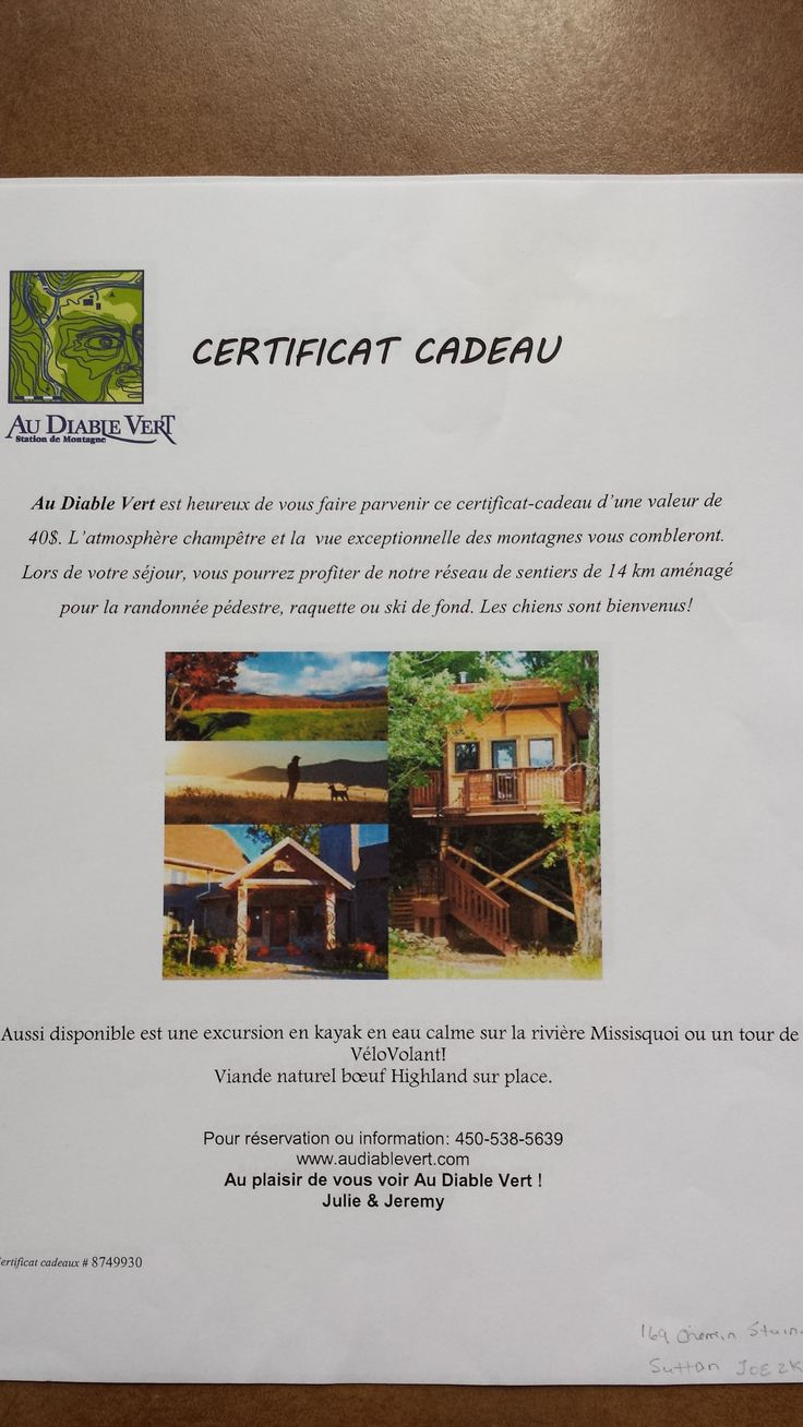 Gift certificates for an outdoor excursion (kayak or mountain biking) at Au Diable Vert Mountain Station. Courtesy of Au Diable Vert