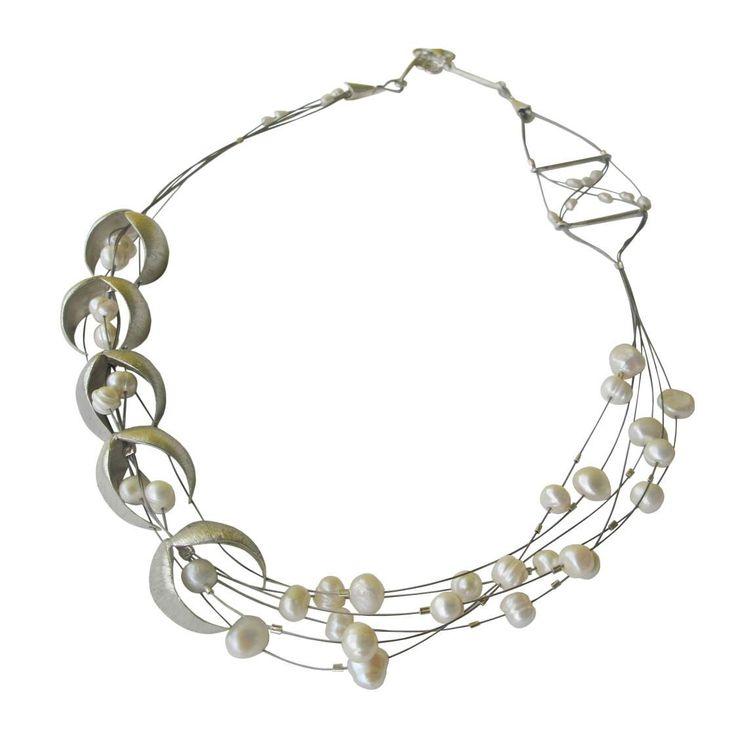 Big silver necklace,bridal necklace,anniversary necklace,statement necklace,beaded necklace,designer necklace,designer necklace