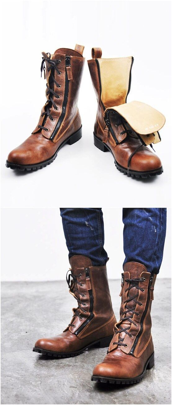 Runway Zippered Vintage Brown Raven Boots Shoes - 70
