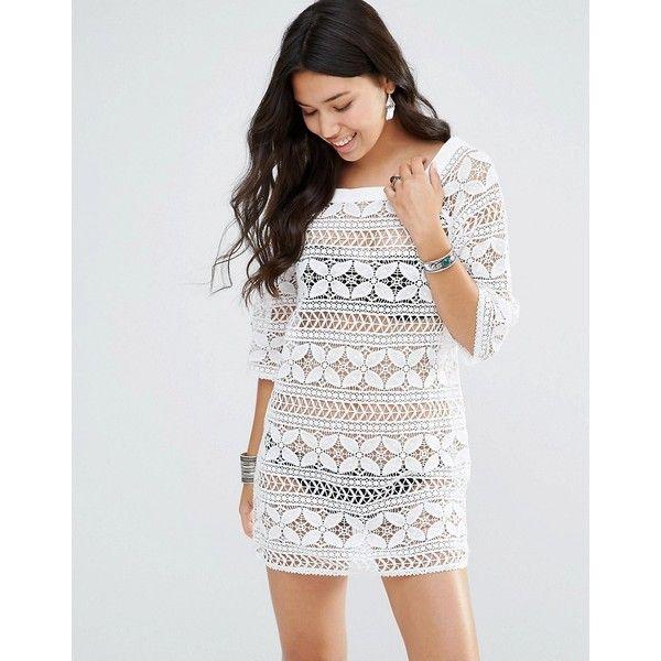 Gypsy 05 Crochet Mini Dress (£87) ❤ liked on Polyvore featuring dresses, white, mini dress, white mini dress, white see through dress, sheer mini dress and sheer dress