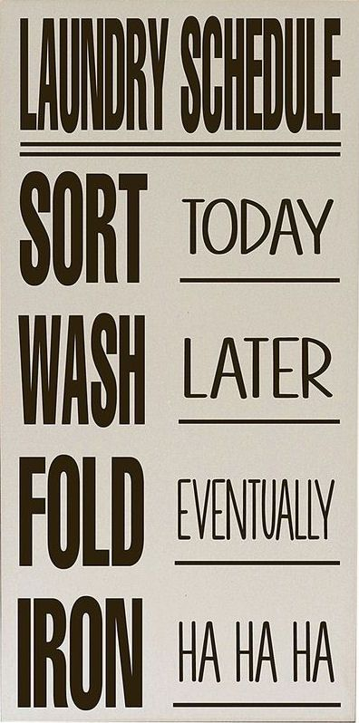 Cream & Brown Laundry Schedule Wall Art ♥