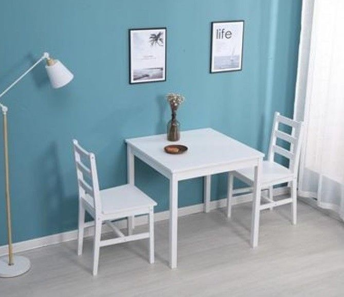 Small Kitchen Table And 2 Chairs Home Dining Room Set Furniture Pine Wood White Small Dining Table Set Small Kitchen Tables Small Dining Table