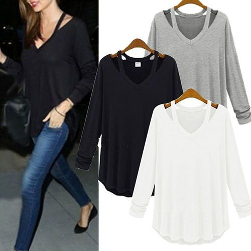 Women-V-neck-Plus-Size-Tops-Loose-Long-Sleeve-T-Shirt-Casual-Blouse-Fashion