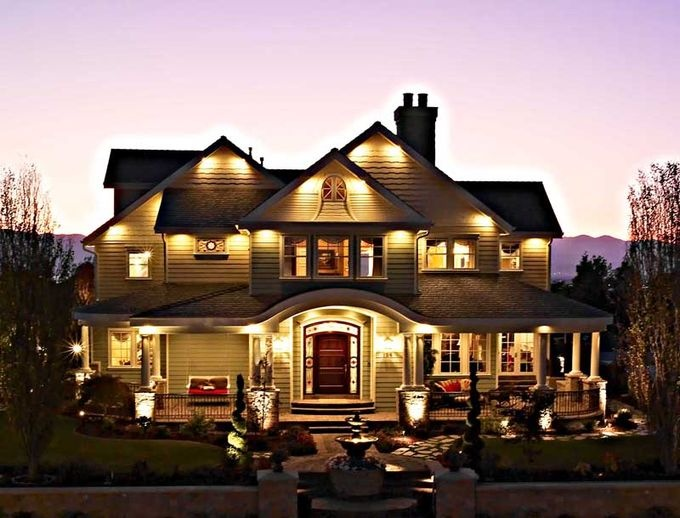 Love the lights and the big porch!
