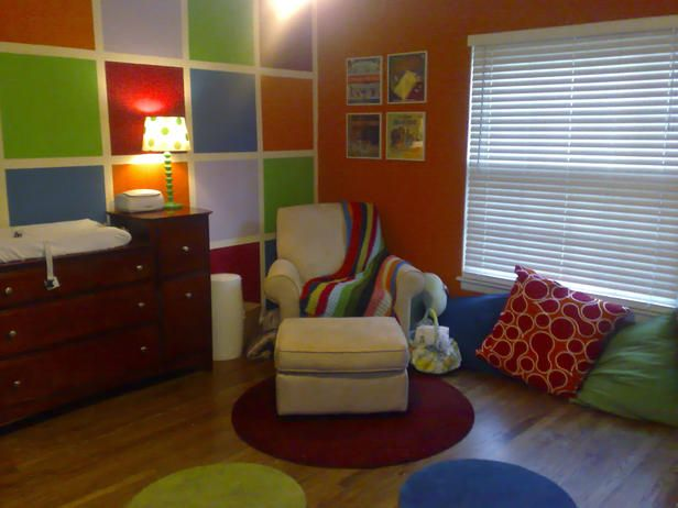 Boy: Kaleidoscope of Primary Colors  RMS contributor treilove took on an ambitious, color-blocked wall treatment in her son's nursery. The colors, inspired by a blanket from Ikea, coordinate with floor pillows, polka-dot rugs and a collection o