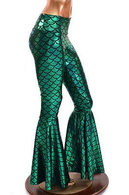 Holographic Mermaid Scale Bell Bottom Spandex Flare Pants Festival Rave Clubwear