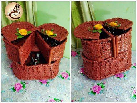 DIY Newspaper cosmetic organizer  2 storeyed Newspaper craft - YouTube