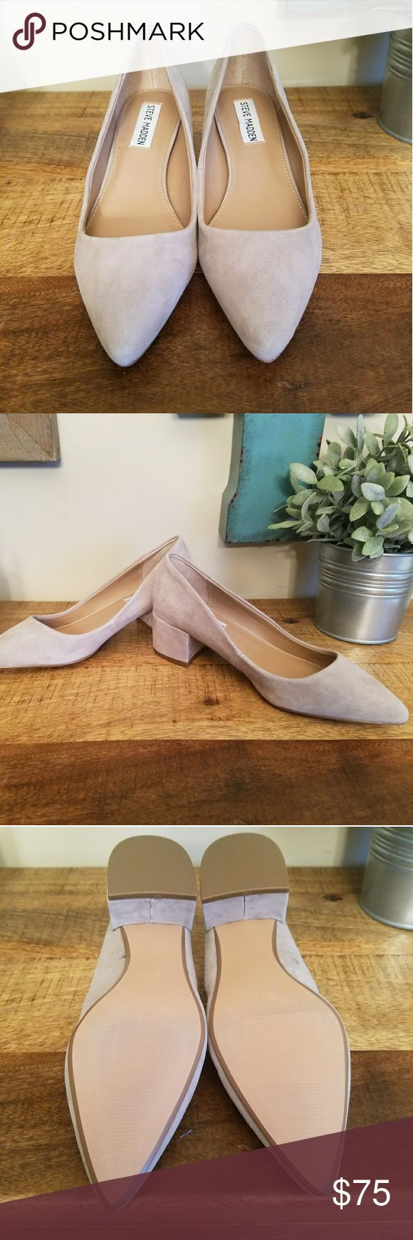 NEW Steve Madden Taupe Sude heels Never been worn Steve Madden block heel with a pointy toe. The perfect heel for work or a special occasion! These are sold out and no longer available in stores.   Open to offers. Steve Madden Shoes Heels