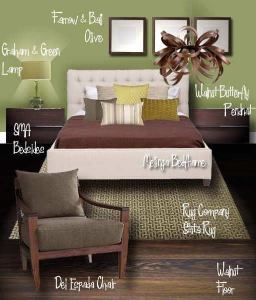 Nice Olive Green and brown bedroom, complement to chartingnature.com fern prints, from shabbyhousedesigns.blogspot.com