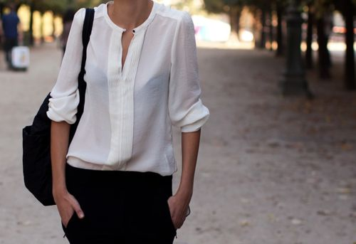 .: Clean Line, Fashion Styles, White Shirts, Street Styles, Black White, White Blouses, Spring Outfit, Black Pants, White Tops