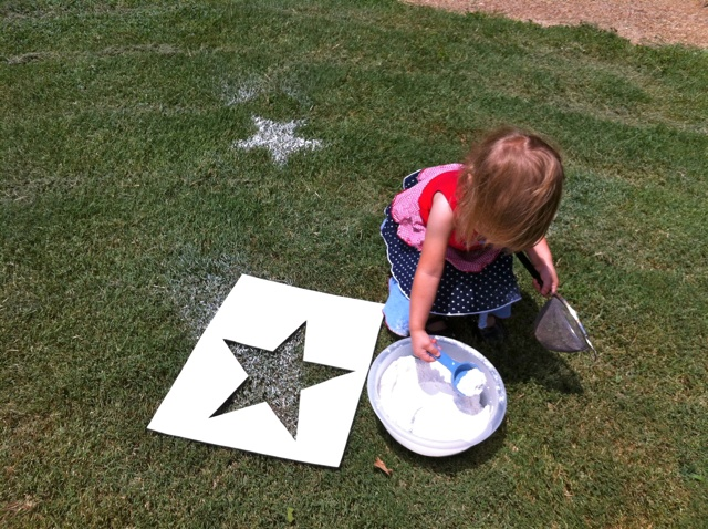 Stars on the grass with flour for party.