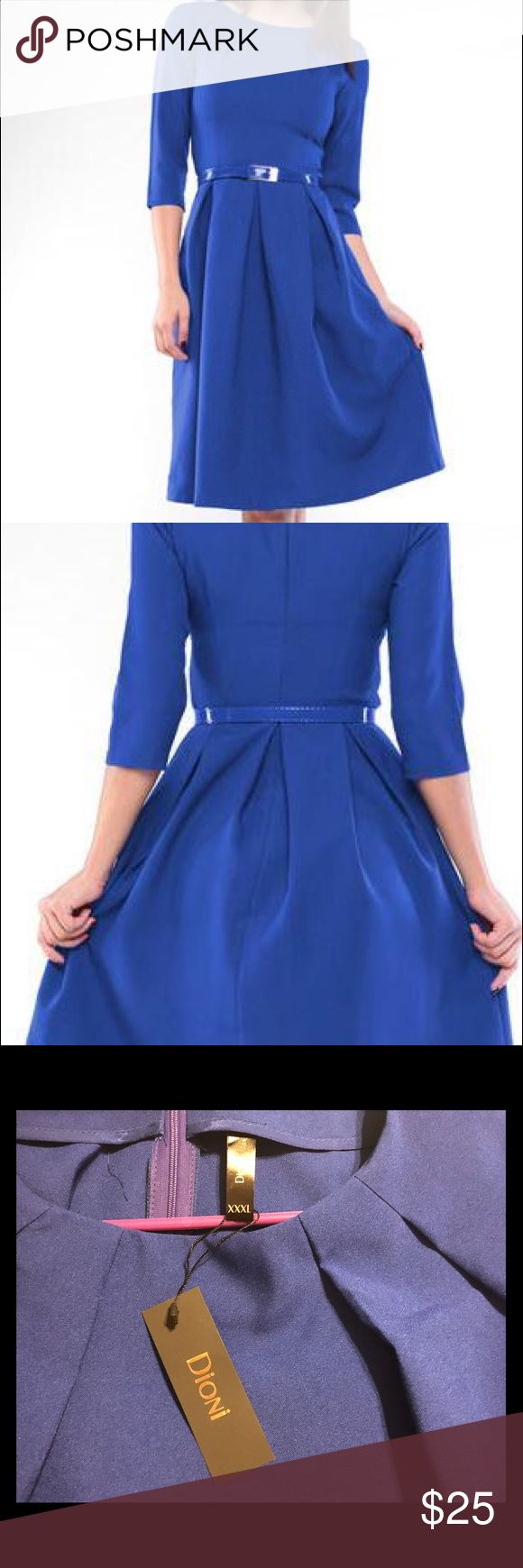 Dioni Electric Royal Blue A-line Dress Elegant in its simplicity, this classic A-line dress boasts a breathtaking solid hue and figure-defining waist. European sizing: XXXL = 14 US • Never worn. Includes dress only - belt not included • 39'' long from high point of shoulder to hem • 35% cotton / 35% viscose / 30% polyester • Machine wash; dry flat Dresses