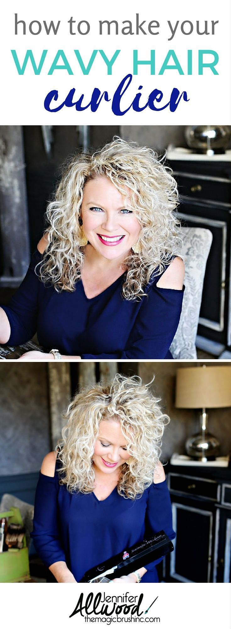 How to make your wavy hair curlier! Best products and tips for getting curls out of your natural waves. Hair advice from DIYer Jennifer Allwood of theMagicBrushinc.com