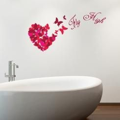Fly High Butterflies Heart Cuore di Farfalle Wall Sticker Adesivo da Muro