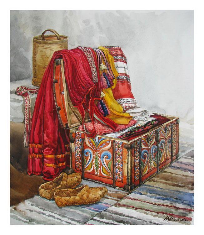 Просмотреть иллюстрацию Вологодский сундучок из сообщества русскоязычных художников автора Марина Федорова  в стилях: Реализм, нарисованная техниками: Акварель.