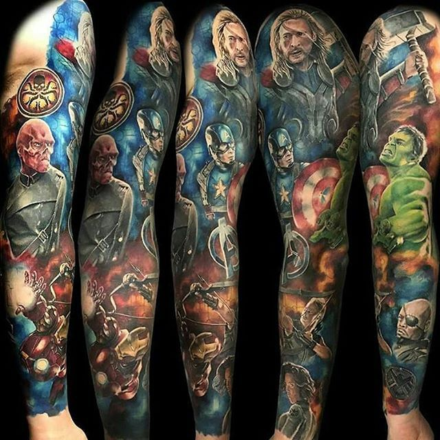 the 25 best ideas about marvel tattoo sleeve on pinterest marvel tattoos super hero tattoos. Black Bedroom Furniture Sets. Home Design Ideas