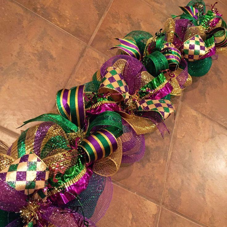 Mardi Gras Twisted Ribbon garland centerpiece by ChicAffair on Etsy https://www.etsy.com/listing/261783572/mardi-gras-twisted-ribbon-garland